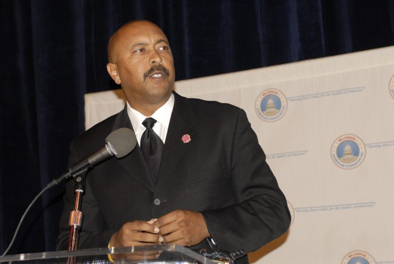 Brent F. Burton speaking after being awarded the President's Award by the Millennium Momentum Foundation at the City Club of Los Angeles